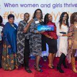Angela Davis with group of women