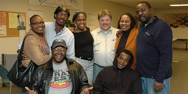 René Robinson with classmates from Odyssey Class of 2008